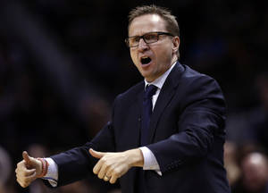 Photo - Oklahoma City head coach Scott Brooks argues for a jump ball call during Game 1 of the Western Conference Finals in the NBA playoffs between the Oklahoma City Thunder and the San Antonio Spurs at the AT&T Center in San Antonio, Monday, May 19, 2014. Photo by Sarah Phipps, The Oklahoman