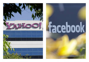 photo - The logos of Yahoo, left, and Facebook are shown outside their offices in Santa Clara, Calif., and Menlo Park, Calif. The two companies have agreed to settle a patent dispute. AP Photo