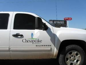 photo - A company truck on the Chesapeake Energy campus at NW 63rd and Western Wednesday April 18, 2012. Photo by Steve Lackmeyer