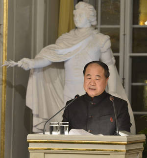 Photo - The 2012 Nobel Literature Prize laureate, Mo Yan of China, speaks Friday during the traditional Nobel lecture at the Royal Swedish Academy in Stockholm, Sweden. AP Photo <strong>Jonas Ekstromer</strong>