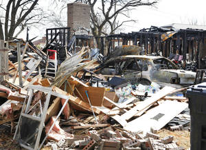 photo - Home that exploded recently at 9208 S Villa, Friday, January 11, 2013. For a follow up to the home explosion. Photo By David McDaniel/The Oklahoman