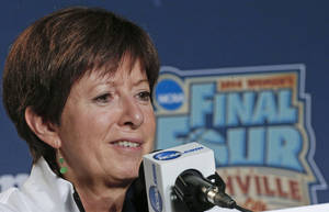 Photo - Notre Dame head coach Muffet McGraw answers questions during a news conference at the NCAA women's Final Four college basketball tournament Monday, April 7, 2014, in Nashville, Tenn. Notre Dame is scheduled to face Connecticut in the championship game Tuesday. (AP Photo/John Bazemore)