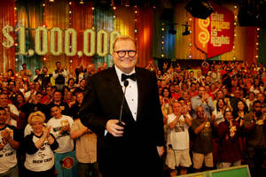 "Photo -   HOLD FOR LYNN ELBER STORY/PERMISSION - FILE - In this February 2008 publicity image released by CBS Entertainment, host Drew Carey hosts pauses during a taping of of ""The Price is Right Million Dollar Spectacular,"" one of six new specials to be broadcast on Fridays, beginning Feb. 22, 2008, on the CBS Television Network. A Los Angeles jury says a former model on ""The Price is Right"" was discriminated against by producers because of her pregnancy. The Superior Court jury awarded nearly $777,000 to Brandi Cochran on Tuesday, Nov. 20, 2012. (AP Photo/CBS, Monty Brinton, File) ** MANDATORY CREDIT. NO ARCHIVE. NO SALES. NORTH AMERICA USE ONLY. **"