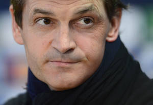 Photo - FILE - In this April 30, 2013 file photo, FC Barcelona's coach Tito Vilanova attends a press conference at the Sports Center FC Barcelona Joan Gamper in San Joan Despi, Spain. FC Barcelona announced on their web page Friday April 25, 2014 that Vilanova has died after a long battle against cancer. He previously stepped down as coach when he became seriously ill and was unable to continue. (AP Photo/Manu Fernandez, File)