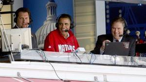 Photo - President Barack Obama appears in Nationals' TV booth with Bob Carpenter, right, and Rob Dibble, left, during the 2010 season opener. Dibble was replaced by F.P. Santangelo as analyst last season. Photo provided