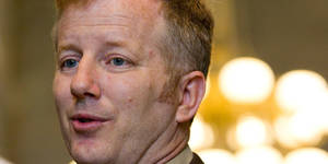Photo - Sen. Stacey Campfield, R-Knoxville, speaks to reporters outside the Senate chamber in Nashville, Tenn., on Wednesday, April 25, 2012, after the chamber passed his bill to  require drug testing as a condition for receiving welfare. (AP Photo/Erik Schelzig)