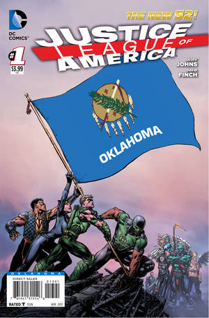 "Photo - The Oklahoma cover to ""Justice League of America"" No. 1. DC Comics photo. <strong>DC COMICS IMAGE</strong>"
