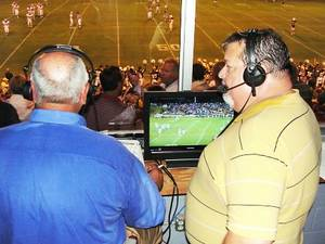 Photo - Bob Cortese, left, and Robert Allen call the Weatherford at Clinton game for KSBI, Thunder TV. KSBI broadcasts 16 regular-season games. PHOTO PROVIDED