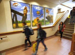 photo - OU: Students walk down a hallway in Price Business Building on the campus of the University of Oklahoma on Wednesday, Nov. 2, 2011, in Norman, Okla.    Photo by Steve Sisney, The Oklahoman ORG XMIT: KOD