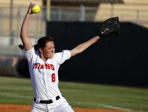 Photo - Carl Albert's Abby Meador pitches against Guthrie during a high school softball game against in Midwest City, Okla., Tuesday, September 18, 2012. Photo by Bryan Terry, The Oklahoman