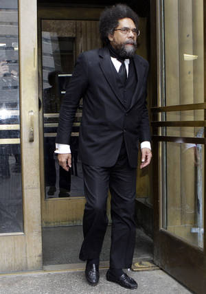 Photo -   Cornel West leaves criminal court Thursday, May 3, 2012, in New York. Seizing an opportunity to spotlight their message, 20 critics of police stop-and-frisks began telling a judge Wednesday that they shouldn't have been arrested during a demonstration last fall. (AP Photo/Frank Franklin II)