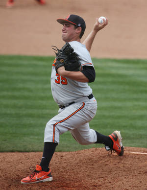 Photo - Oklahoma State reliever Vince Wheeland has a 1.17 ERA in 13 appearances, 12 of which have come from the bullpen.                    AP Photo