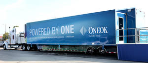 "Photo - The ONEOK ""Powered by One"" exhibit truck and trailer visit area colleges to educate students about the company. Photo by David McDaniel, The Oklahoman <strong>David McDaniel</strong>"