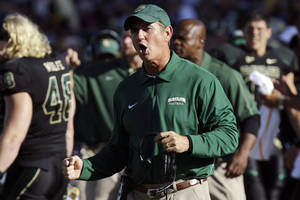Photo - Baylor head coach Art Briles yells from the sidelines during the first half of an NCAA college football game against Southern Methodist in Waco, Texas, Sunday, Sept. 2, 2012. (AP Photo/LM Otero) ORG XMIT: TXMO109