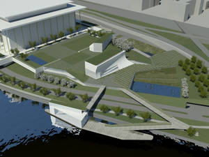 Photo - This handout artist rendition provided by The Kennedy Center and courtesy of Steven Holl Architects, shows architect Steven Holl's design concepts for the first major expansion of the Kennedy Center that will include rehearsal halls and classrooms, a memorial garden, and a stage floating on the Potomac River's edge for outdoor performances. (AP Photo/Kennedy Center, Steven Holl Architects)