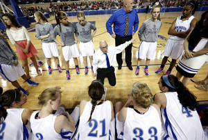 photo - Mount Saint Mary coach Rory Hamilton talks to his team in a timeout during the state high school basketball tournament Class 4A girls championship game between Fort Gibson High School and Mount St. Mary High School at the State Fair Arena on Saturday, March 9, 2013, in Oklahoma City, Okla. Photo by Chris Landsberger, The Oklahoman