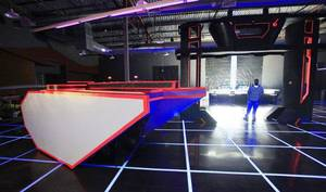 "photo - A tank that shoots out T-shirts is set  up inside the ""Tron: Legacy""-themed LifeChurch.tv northwest campus, 5821 Northwest Expressway. <strong>PAUL B. SOUTHERLAND - PAUL B. SOUTHERLAND</strong>"