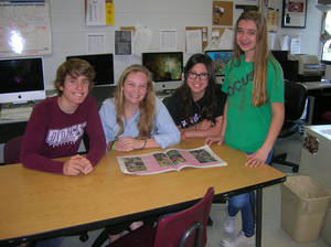 Photo -  Edmond high school journalists who work on the award-winning Ruff Draft newspaper include, from left, Ben Hunt, sophomore; Mikaleh Offerman, junior; Kailey Sniffin, sophomore, and Heather Maker, freshman. PHOTO BY STEVE GUST, FOR THE OKLAHOMAN  <strong></strong>