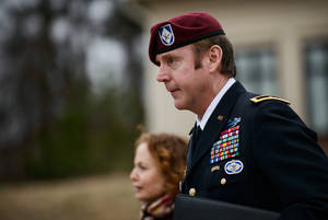 Photo - Brig. Gen. Jeffrey Sinclair leaves the courthouse following a day of motions, Tuesday, March 4, 2014, at Fort Bragg, N.C. Less than a month before Sinclair's trial on sexual assault charges, the lead prosecutor broke down in tears Tuesday as he told a superior he believed the primary accuser in the case had lied under oath. (AP Photo/The Fayetteville Observer, James Robinson)