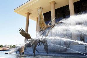"Photo - ""Swans in Flight,"" a sculpture by British sculptor David Wynne, was unveiled Sunday at Armstrong Auditorium near Edmond. The five swans each weigh about 1,250 pounds and are sprayed by six cascading water jets in a 40,000-gallon reflecting pool. PHOTO BY PAUL HELLSTERN, THE OKLAHOMAN <strong>PAUL HELLSTERN</strong>"
