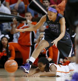 Photo - Oklahoma State's Kamri Anderson (35) passes the ball from under TCU's Natalie Ventress (24) during an NCAA college basketball game at Gallagher-Iba Arena in Stillwater, Okla., Tuesday, Jan. 14, 2014. (AP Photo/The Oklahoman, Bryan Terry)