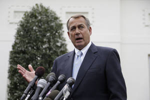 Photo - House Speaker John Boehner of Ohio speaks to reporters outside the White House in Washington, Friday, March 1, 2013, following a meeting with President Barack Obama and Congressional leaders regarding the automatic spending cuts. (AP Photo/Carolyn Kaster)