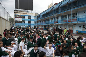 Photo - Students gather in the courtyard of their school after an earthquake shook Mexico City, Thursday, May 8, 2014. A strong earthquake in southern Guerrero state shook the southern Pacific coast of Mexico and several states, including the capital. (AP Photo/Rebecca Blackwell)