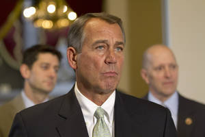 photo - FILE - In this Jan. 23, 2013, file photo, House Speaker John Boehner of Ohio, flanked by House Budget Committee Chairman Rep. Paul Ryan, R-Wis., left, and House Ways and Means Committee Chairman Rep. Dave Camp, R-Mich., speaks during a news conference on Capitol Hill in Washington. Boehner has shored up his political clout after a shaky month by persuading fellow Republicans to pick their fights with Democrats more strategically. His rebound helped the government avoid a potential default on financial obligations. (AP Photo/Jacquelyn Martin, File)