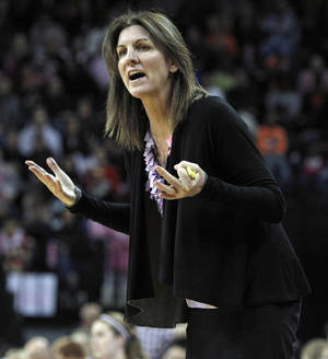 photo - Virginia head coach Joanne Boyle yells about a missed call during the second half of an NCAA college basketball game against Maryland in Charlottesville, Va., Sunday, Feb. 17, 2013. Maryland defeated Virginia 73-44. (AP Photo/Norm Shafer)