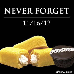 "Photo - This undated image shows ""Never Forget,'' one of the most recent of dozens of pieces of art Nancy Peppin has created over the years using Twinkies and other Hostess products. A graphic artist by day for slot machine-maker International Game Technology, Peppin doesn't like to eat Twinkies. She uses them to depict popular culture similar to Any Warhol. (AP Photo/Courtesy Nancy Peppin)"
