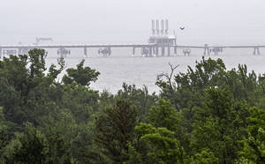 Photo - This photo taken June 12, 2014 shows a half-a-mile long, the Dominion Energy's Cove Point LNG Terminal's offshore loading platform, a mile offshore seen from the facilities nature preserve which surround the plant in Lusby, Md. Richmond, Virginia-based Dominion wants to build the $3.8 billion project at its existing Cove Point liquefied natural gas terminal on the bay, which the company used for years to import natural gas. Now, thanks to a boom in natural gas fueled by hydraulic fracturing, Dominion has contracts to export natural gas to Japan and India, where gas prices are higher than in the U.S.  (AP Photo/Cliff Owen)
