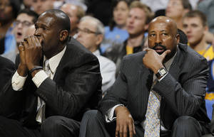 "Photo - FILe - In this March 13, 2013 file photo, New York Knicks head coach Mike Woodson, right, joins assistant coach Herb Williams in reacting as the Knicks fall behind to the Denver Nuggets in the third quarter of the Nuggets' 117-94 victory in an NBA basketball game in Denver. The Knicks have fired Woodson after falling from division champions to out of the playoffs in one season. New team president Phil Jackson made the decision Monday, April 21, 2014, saying in a statement ""the time has come for change throughout the franchise.""  (AP Photo/David Zalubowski, File)"