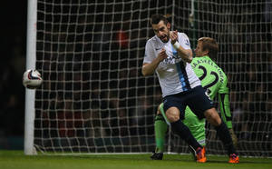 Photo - Manchester City's Alvaro Negredo turns away to celebrate after scoring the opening goal during the second leg of the English  League Cup semifinal soccer match between West Ham United and Manchester City at the Boleyn stadium in London, Tuesday, Jan 21  2014.(AP Photo/Alastair Grant)