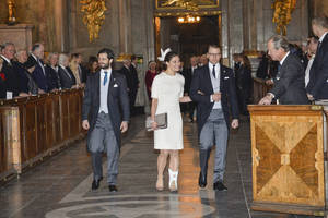 Photo - Prince Carl Philip, left, Crown Princess Victoria and Prince Daniel arrive Sunday,March 2, 2014 at a thanksgiving service for the birth of Princess Leonore, child of Princess Madeleine and Christopher O'Neill in New York last week. (AP Photo/TT, Henrik Montgomery)   SWEDEN OUT
