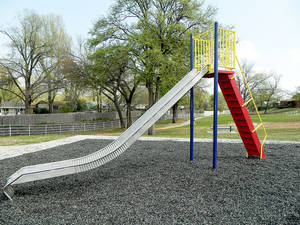Photo - A new slide awaits visitors at Holoway Park in Midwest City. The park was closed most of the winter for renovations. Photo provided by Midwest City Parks and Recreation Department