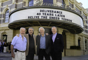 "Photo - The cast of ""Deliverance,"" from left, Ned Beatty, Burt Reynolds, Ronny Cox and Jon Voight reunite in Palm Beach, Fla., for the release of the 40th anniversary Blu-ray edition of the film. PHOTO PROVIDED <strong></strong>"