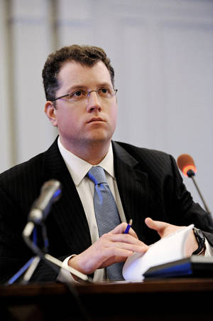 Photo - Kevin O'Dowd, Governor Christie's chief of staff, testifies before the New Jersey Select Commission on Investigation looking into the closure of lanes on the George Washington Bridge, Trenton, N.J., Monday, June 9, 2014. (AP Photo/The Record of Bergen County, Amy Newman)