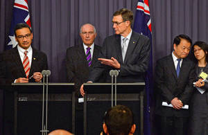Photo - Australia's Transport Minister Warren Truss, second from left, Malaysia's acting Transport Minister Hishammuddin Hussein, left, and China's Transport Minister Yang Chuantang, second from right, attend a press conference for the nearly two-month-old hunt for the missing Malaysian jet with search coordinator Angus Houston, center, in Canberra, Australia, Monday, May 5, 2014. Senior officials from Malaysia, Australia and China are meeting in the Australian capital to hash out the details of the next steps in the search for Malaysia Airlines Flight 370, which will center around an expanded patch of seafloor in a remote area of the Indian Ocean off Western Australia. (AP Photo/AAP Image, Alan Porritt) NO ARCHIVING, NO SALES, AUSTRALIA OUT, NEW ZEALAND OUT, PAPUA NEW GUINEA OUT, SOUTH PACIFIC OUT