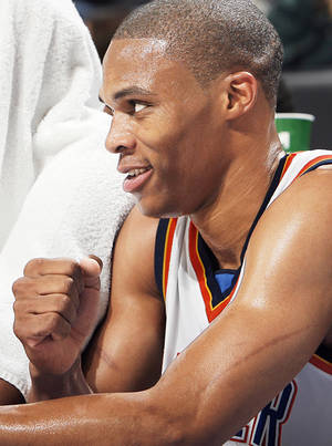 photo - The Thunder's Russell Westbrook pumps his fist after OKC's victory.  Photo by Chris Landsberger,  The Oklahoman