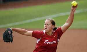 photo - Oklahoma's Keilani Ricketts pitches during an NCAA softball regional between the University of Oklahoma and  Oregon State in Norman, Okla., Sunday, May 20, 2012. Photo by Sarah Phipps, The Oklahoman