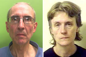 Photo - Undated handout file photos issued by Nottinghamshire Police and made available on Friday, June 20, 2014, of Christopher Edwards, 57, and Susan Edwards, 56, who have been found guilty at Nottingham Crown Court of murdering her parents. A British husband and wife have been convicted of murdering the woman's parents, burying their bodies and collecting their pension checks for 15 years. A jury at Nottingham Crown Court found Susan and Christopher Edwards guilty Friday of shooting William and Patricia Wycherly in May 1998. (AP Photo/PA, Nottinghamshire Police) UNITED KINGDOM OUT NO SALES NO ARCHIVE