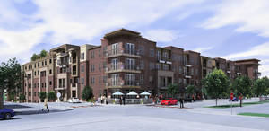 Photo - Above: The southeast corner of The Edge apartments when finished is shown in this drawing. Drawing Provided