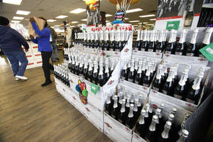 photo - Thousands of bottles of Champagne and sparkling wine will be sold during the next several days at Byron's Liquor Warehouse in Oklahoma City.
