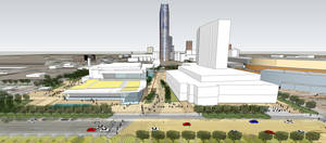 Photo - A conceptual site plan for the $250 million convention center calls for a conference hotel to be built west of the Chesapeake Energy Arena, and ample green space and a courtyard providing linkages between the Myriad Gardens and a future Core to Shore park. The convention center is shown to the left of the hotel. <strong>PROVIDED</strong>