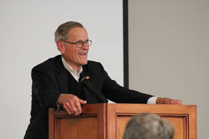 Photo -  Tom Love, founder of Love's Travel Stops & Country Stores Inc., addresses guests at a Junior Achievement luncheon Thursday at Meinders School of Business. Photo provided  <strong> -  PHOTO PROVIDED </strong>