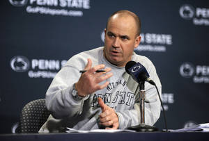 Photo - Penn State coach Bill O'Brien speaks at his weekly NCAA college football press conference, in State College, Pa., Tuesday, Oct. 8, 2013.  Penn State plays Michigan on Saturday in State College.  (AP Photo/Centre Daily Times, Nabil K. Mark ) MANDATORY CREDIT; MAGS OUT