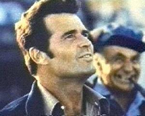 James Garner is seen in the role of private investigagor Jim Rockford in the 1970s TV series 'The Rockford Files.' Noah Beery Jr., right, played his father.