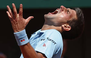 Photo - Serbia's Novak Djokovic screams after missing a return during the semifinal match of the French Open tennis tournament against Latvia's Ernests Gulbis at the Roland Garros stadium, in Paris, France, Friday, June 6, 2014. Djokovic won in four sets 6-3, 6-3, 3-6, 6-3. (AP Photo/Michel Euler)
