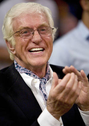 Dick Van Dyke is seen before the Los Angeles Lakers play the Denver Nuggets in Game 1 of the NBA basketball Western Conference finals, Tuesday, May 19, 2009, in Los Angeles. (AP Photo/Mark Avery) ORG XMIT: LAS144