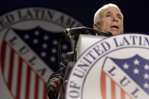 Photo -   FILE - In this July 8, 2008 file photo, then-Republican presidential candidate Sen. John McCain, R-Ariz., addresses the Annual League of United Latin American Citizens (LULAC) Convention in Washington. Having lost the popular vote in five of six presidential elections, Republicans are plunging into intense self-examination. Hard-core conservatives say the party should abandon comparative centrists like John McCain and Mitt Romney. But establishment Republicans note the party still runs the House and President Obama's popular-vote margin was smaller than before. Perhaps the GOP's biggest challenge: improving relations with America's fast-growing Hispanics. (AP Photo/Carolyn Kaster)